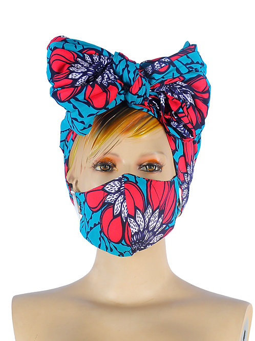 african head wrap with bow for sale, african head wrap with mask