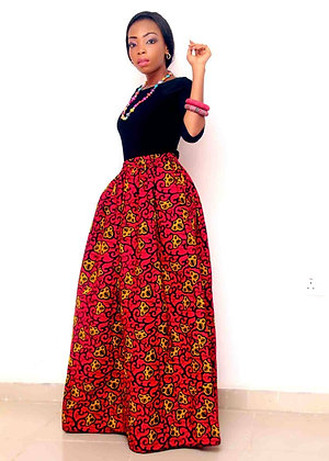 Bridget Red African Skirts with pockets | Maxi African Print Skirts