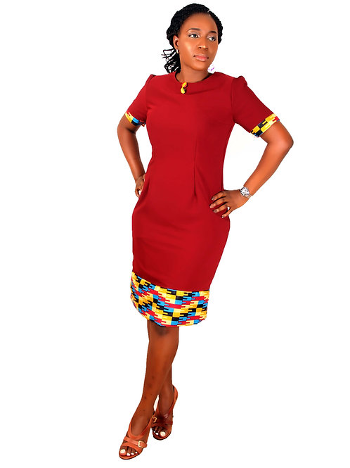 Mide Kente Dress Wine African inspired Formal Dress for petite sizes to Big Sizes African dresses Front view