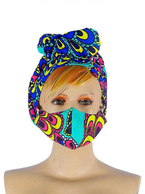 Beautiful African print Head wear wrap with matching face mask. Colours on this peacock fabric / print is multi