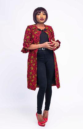 Red African Print Coat Dress | Women African Jacket | Afrikan Print Kimono Dress