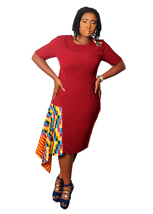 Twins Kente African Print Work Dress|  Drape Design by Mieko Michi