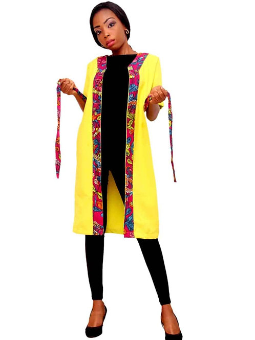 Fashionable African inspired Kimono dress jacket with belt. Perfect for lounging or going out.