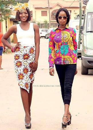 Ladies african print skirt and modern formal african print shirt