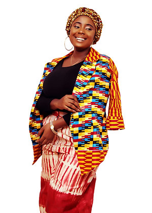 Folashade African Three Piece Set of Wide Leg Pant, Blazer and Head Wrap
