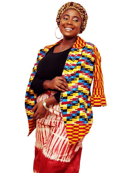 Folashade African Three Piece Set of Wide Leg Pant, Blazer and Head Wrap