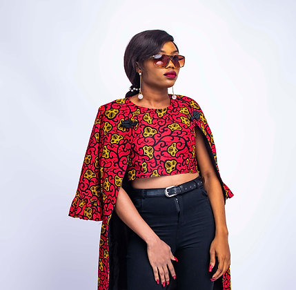 Red African print coats with crop top   African print two pieces dress