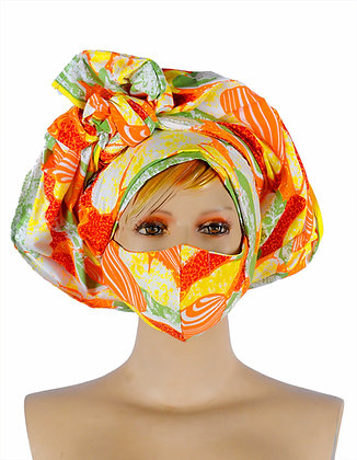 Beautiful African print Head wear wrap with matching face mask. Colours on this orange fabric / print are red, mint, white