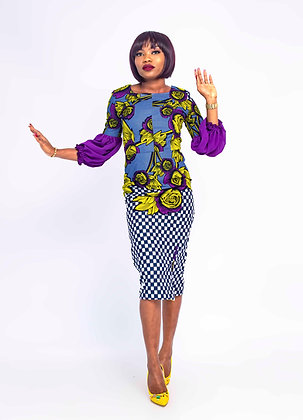 African straight dress. Midi length pencil african suitable for party, office etc. Main colours on fabric are yellow, purple