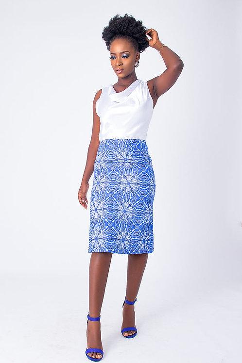 African Print Short Cowl Blue Dress - Dora