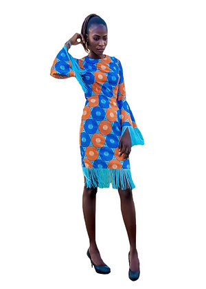 Fela African Fringe Dress | African Print Pencil Dress with long slevees