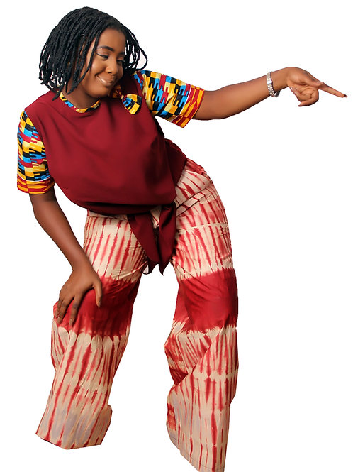 Bami African Two Piece Set Adire Tie Dye Palazzo and  Kente Print Front-tie top - front view