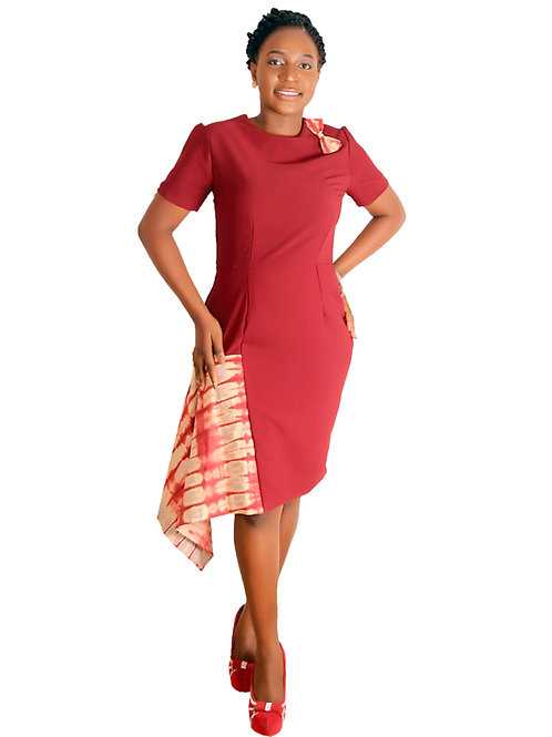 African Print Work Dress | Adire Tie Dye -  Drape Dress | African Twins Dress - Front View