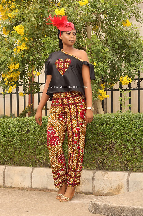African pant and off shoulder rope blouse