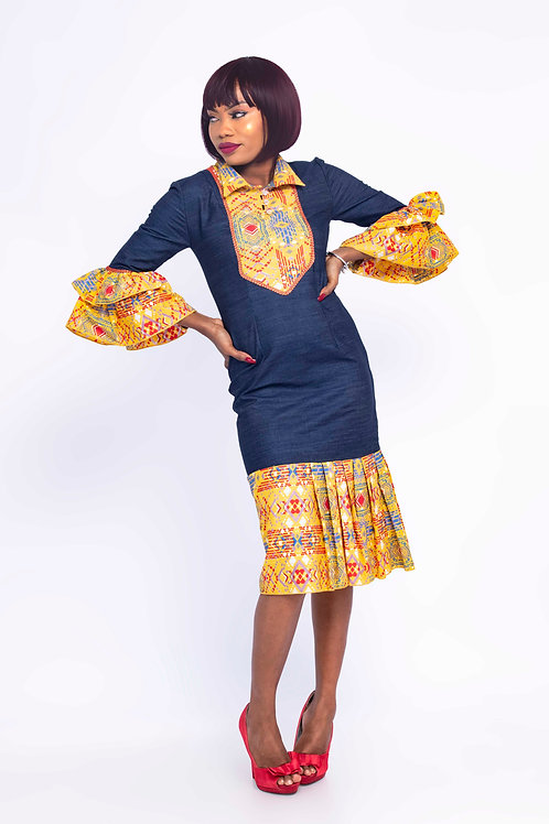 African Jeans Dress Front view- Butterfly