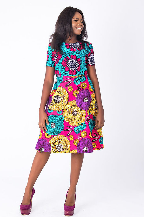 Floral flare African dress embellished with Stone – Nini   Floral African Attire