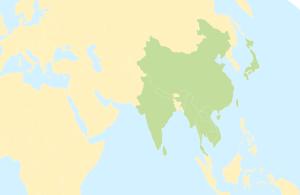 The native range of Vespa mandarinia