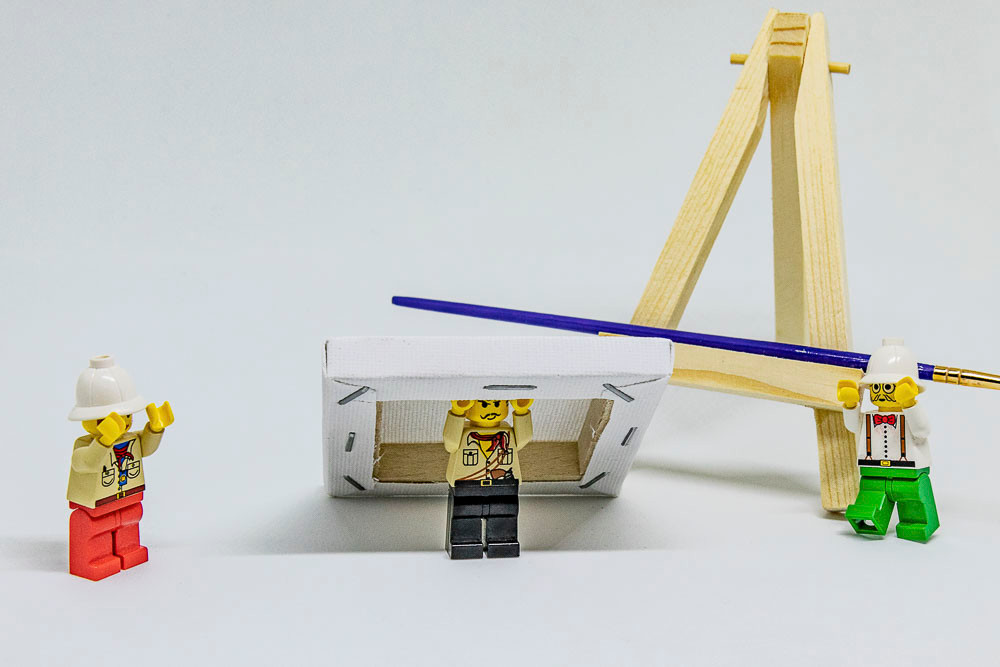 Lego, Story, Kunstdiebe, Stativ, Leinwand, Archaeologen, Pinsel, Staffelei