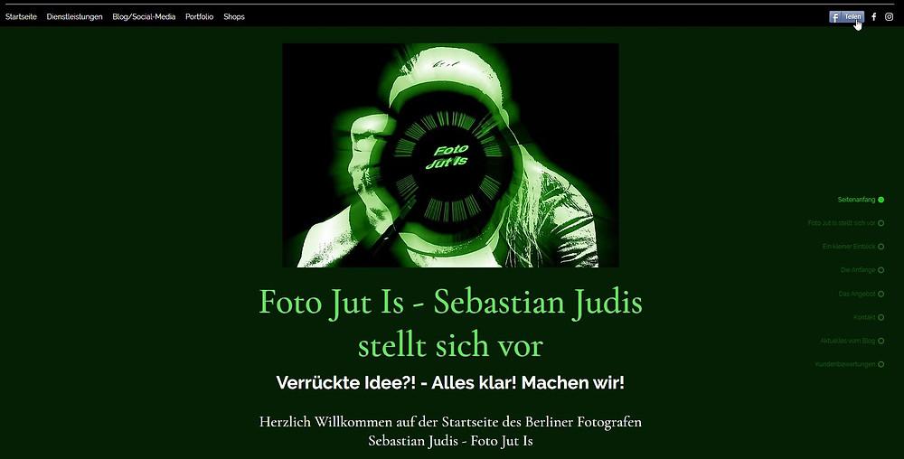 Screenshot der Website mit dem Teilen auf Facebook-Button in der Kopfzeile
