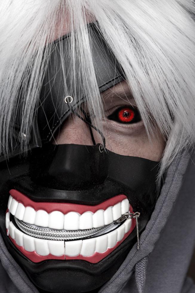Kaneki Ken Maske weiße Haare Ghoulmaske rot-schwarzes Auge