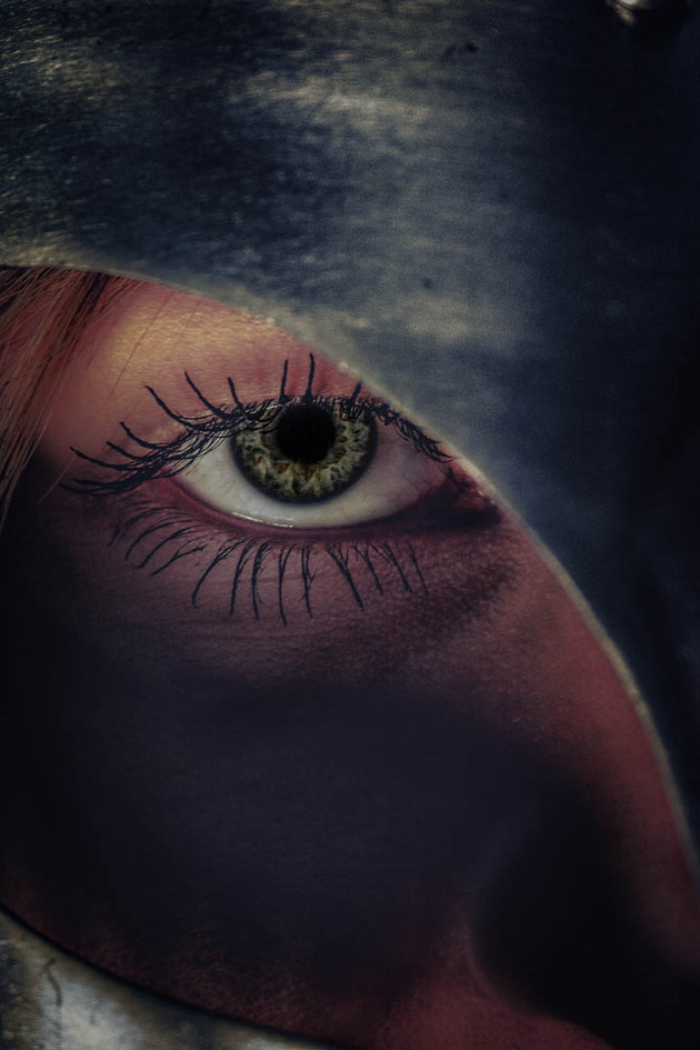 Vanessa's eye with a helmet on her head