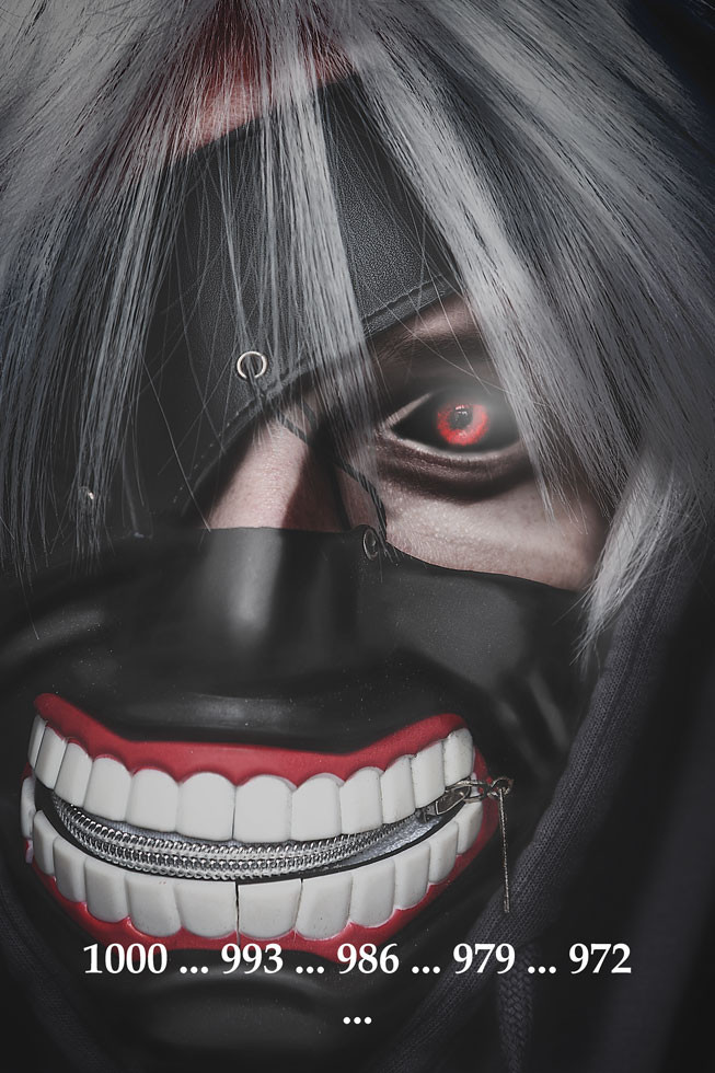 Kaneki Ken Cosplay Maske weiße Haare Ghoul Auge detailliertes Porträt