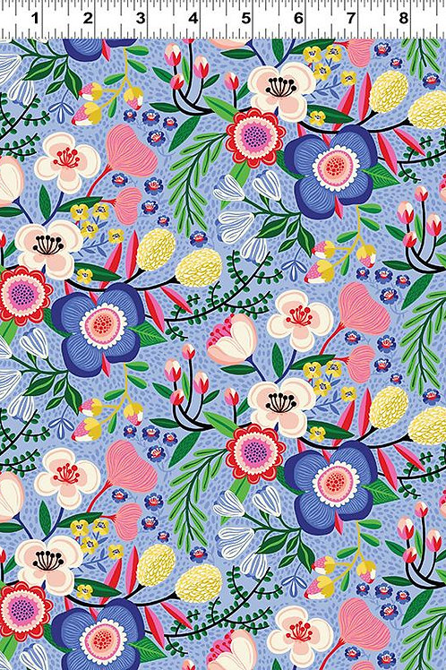 Make Today Awesome   Clothworks   Folk Art Floral Periwinkle
