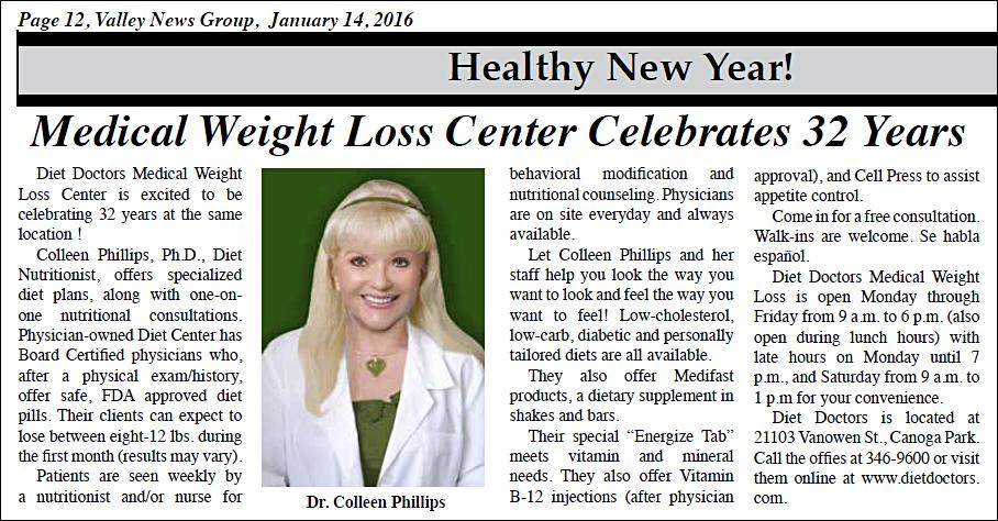2016 Diet Doctors in Warner News
