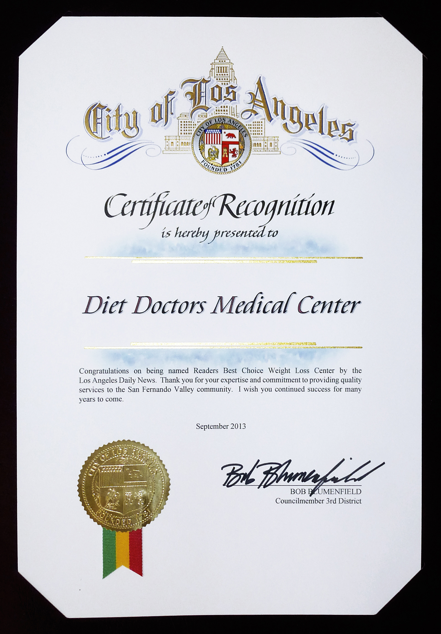 2013 City of LA - Diet Doctors
