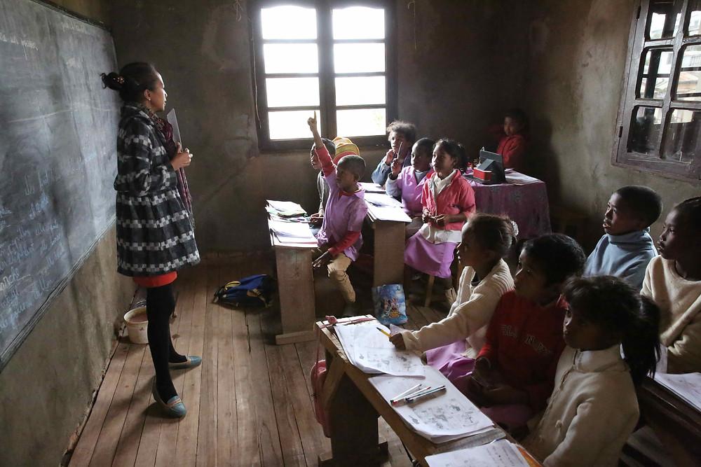 Classe de l'école Règne à Madagascar