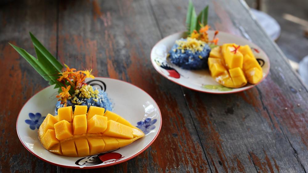 Thai Food-- blue mango sticky rice