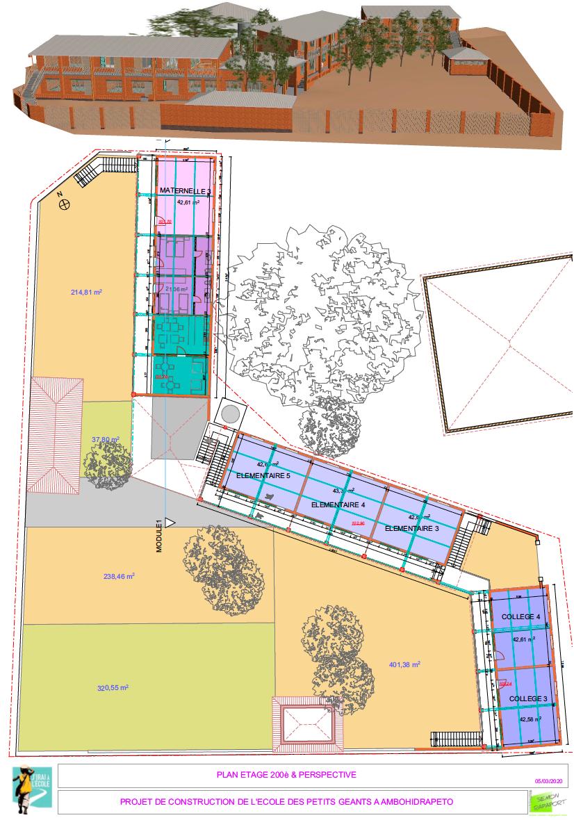 Plan de la future école de l'association JIAE à Madagascar