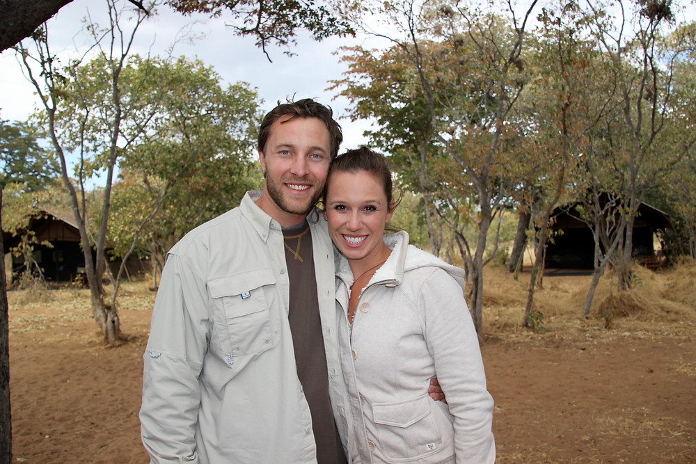Cait and Andrew in Africa on Safari