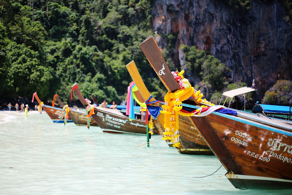 Long tail boats at Phi Phi Island, Thailand