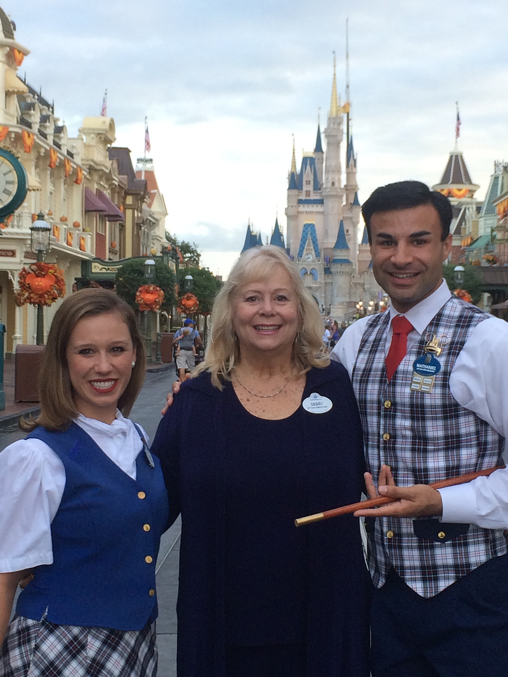 Debby Dane Brown, first Walt Disney World Ambassador in front of Cinderella Castle