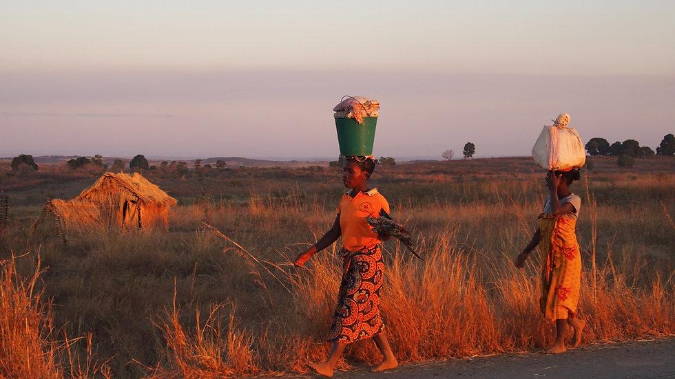 Femmes malgaches portant des seaux sur leur tête