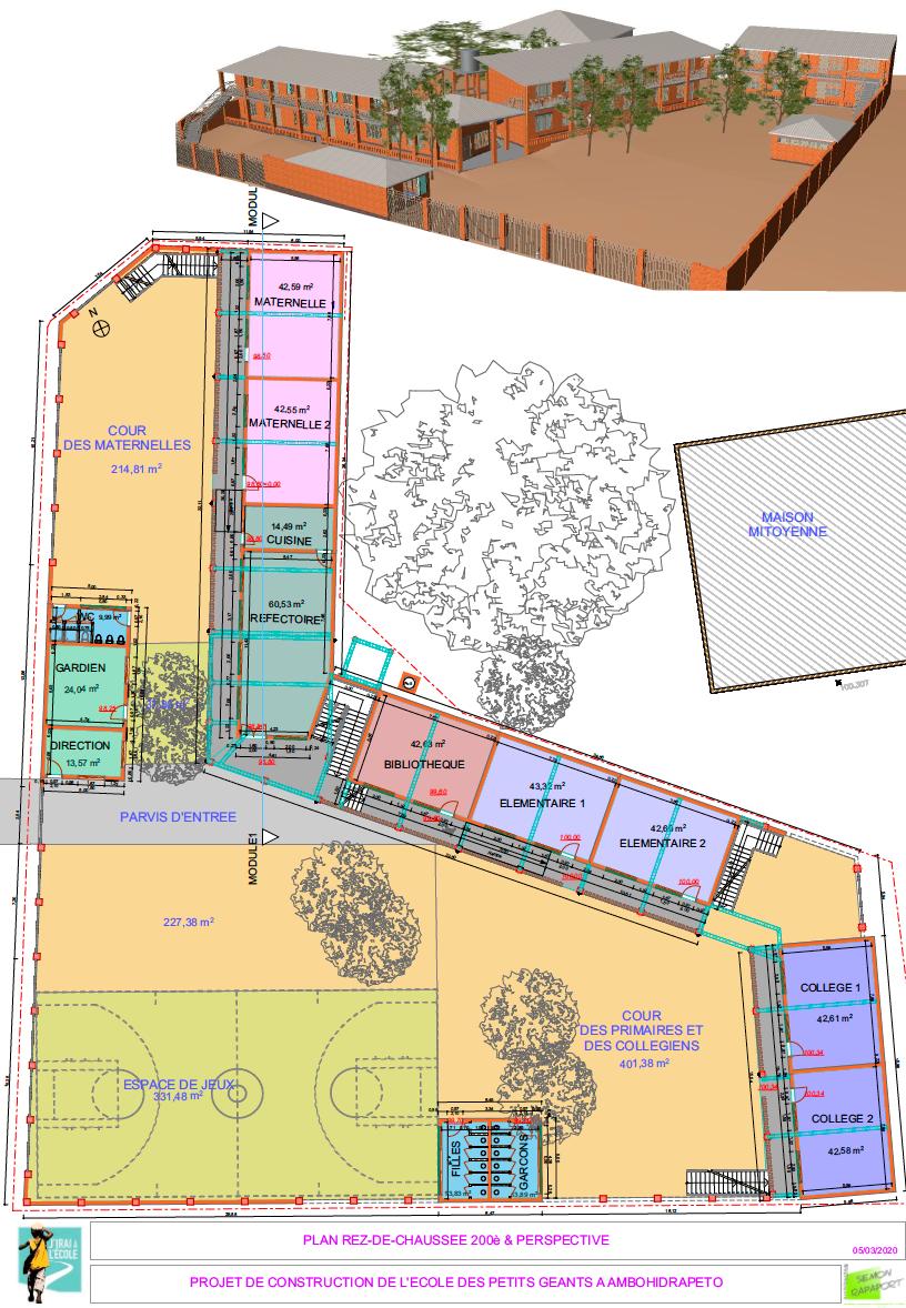 Plan de la future école de l'association J'irai à l'école à Madagascar