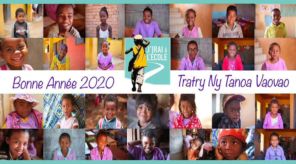 montage photos des élèves de l'école règne pour souhaiter une bonne année