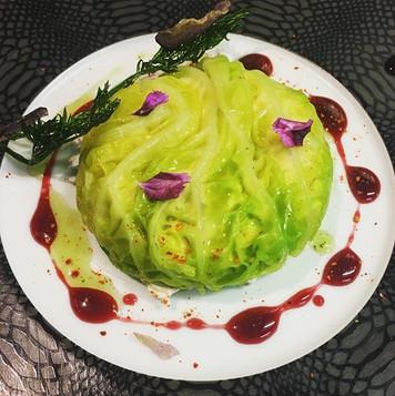 Chou vert farci au nougat de fromage bla