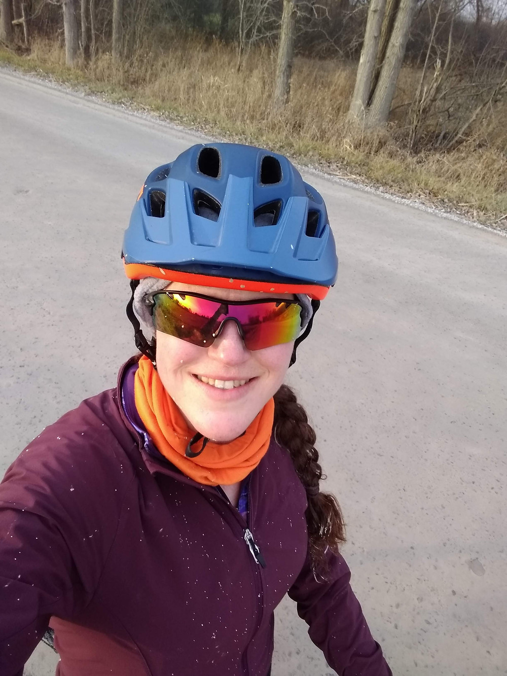 Biking on a dirty road