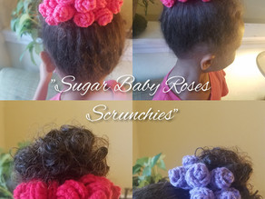 """How to crochet """"Sugar Baby Roses Scrunchies"""""""