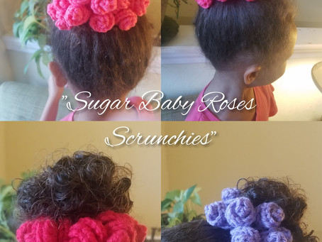 "How to crochet ""Sugar Baby Roses Scrunchies"""