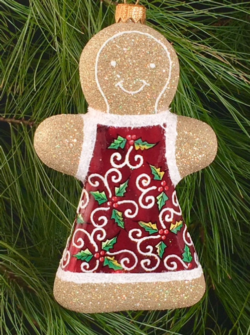 M79RHG Red Holly Leaves Gingerbread Girl