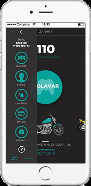 app de MOLA tanto para Android como para Apple. Moto lavado