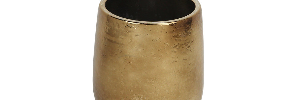 Ceramic Round Pot w/ electroplate Gold Finish