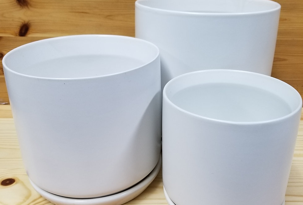 Round Ceramic Pots with Attached Saucer