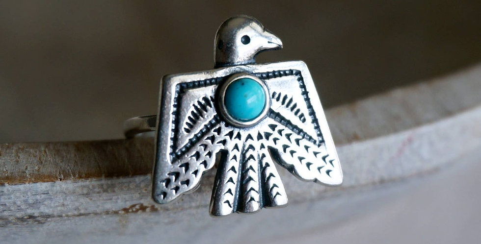 Thunderbird Adjustable Turquoise Ring