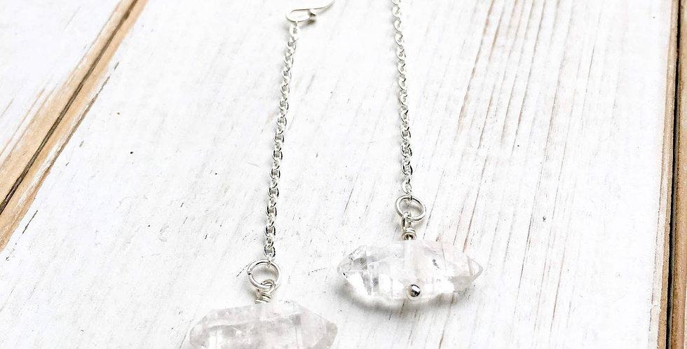Raw Herkimer Diamond Crystal Chain Earrings