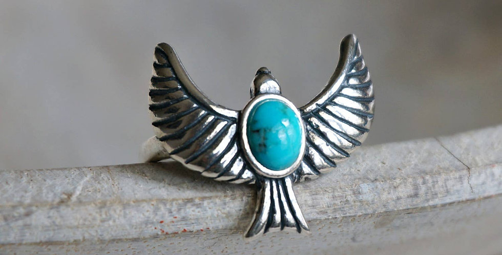 Eagle Turquoise Adjustable Ring