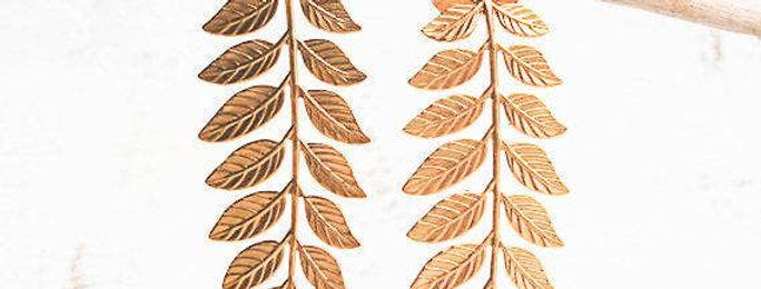 Brass Twig Leaf Earrings